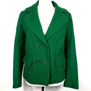 Lacoste Emerald Green Wool Pea Coat